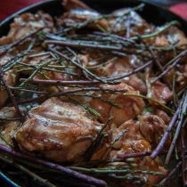 Oven-baked rabbit with wild asparagus